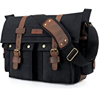 Kattee Leather Canvas Messenger Bag Fits 16 Inch Laptop