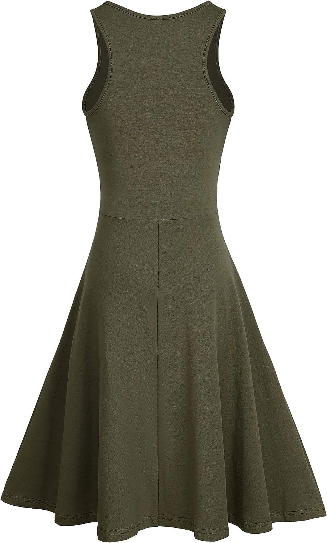 Ladies Flared Dress Womens Midi Swing Strappy Sleeveless Plain Casual Summer New
