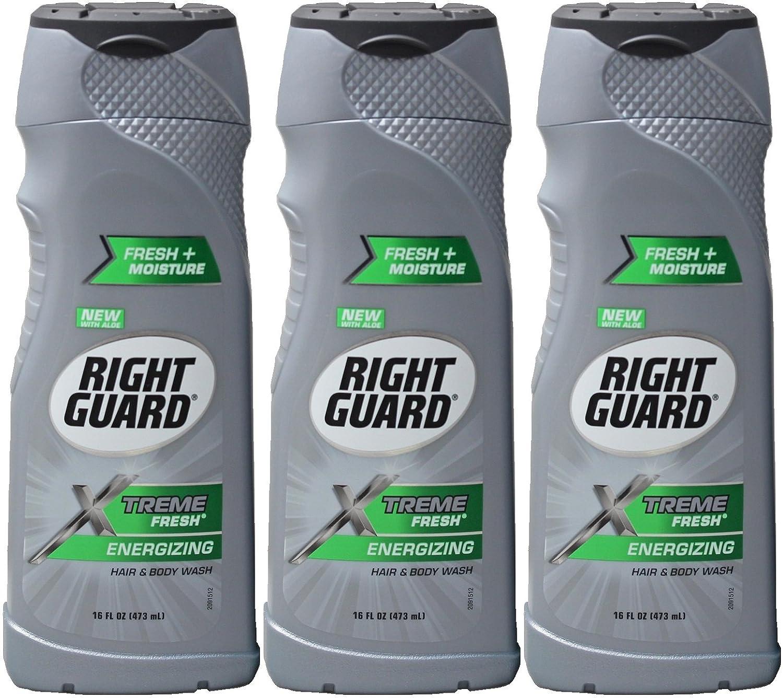 (3 Pack) Right Guard Hair & Body Wash - Xtreme Fresh - Energizing - Net Wt. 16 Fl Oz (473 Ml) Each