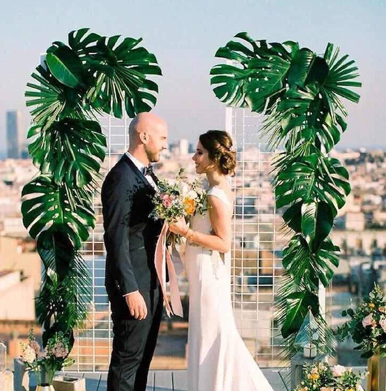 Tropische Blätter Deko Hochzeit