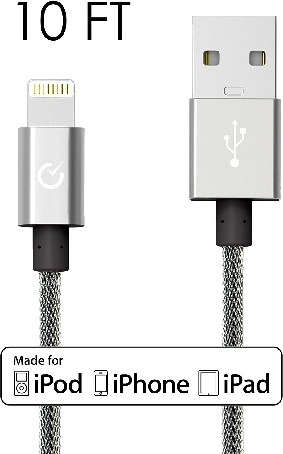 Volts Lightning Cable 10ft USB [Apple MFi Certified] Exo Nylon Braided Lightning Charger w/Aluminum Case on USB & 8-pin Connector for Apple iPhone 6/6 Plus, iPod, iPad & More (Exo Silver 10FT)