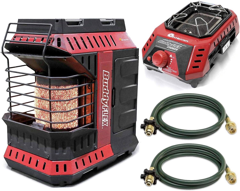 Mr. Heater MH11BFLEX Portable Propane Heater + MH8CFLEX Buddy Flex Cooker Camping Kit w/ 10ft Propane Hoses (4 Items)