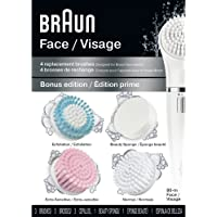 Braun Face 80M - Variety Brush Refills for Braun Mini-Facial Electric Hair Removal Epilator with Facial Cleansing Brush for Women , 4 Count
