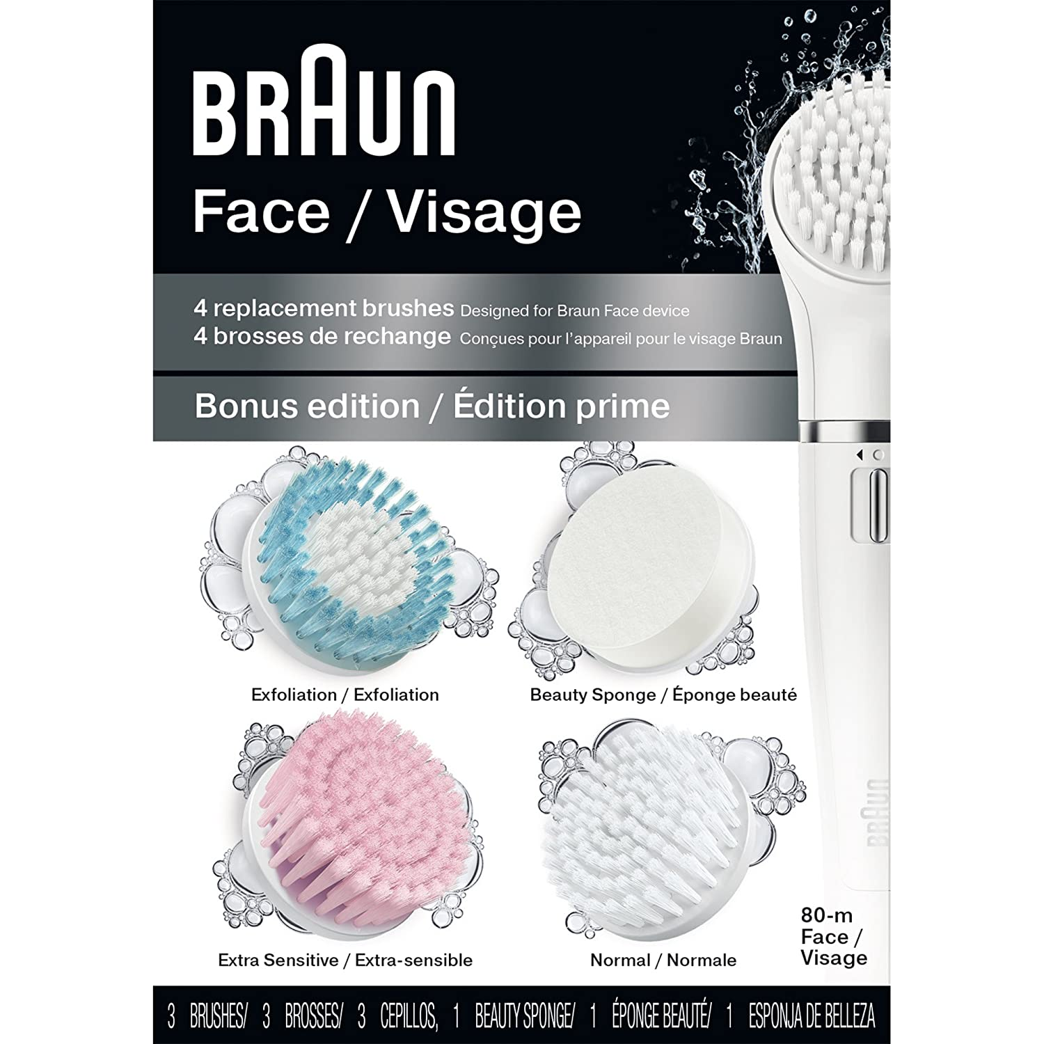 Braun Face 80M - Variety Brush Refills for Braun Mini-Facial Electric Hair Removal Epilator with Facial Cleansing Brush for Women, 4 Count AB-133731