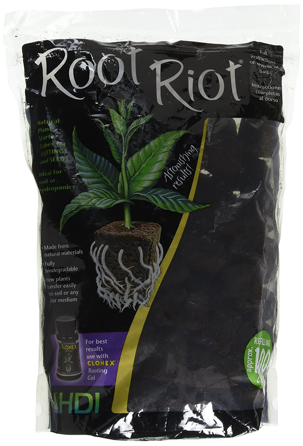 Amazon Hydro Dynamics Root Riot Plugs 100 Cubes Soil And