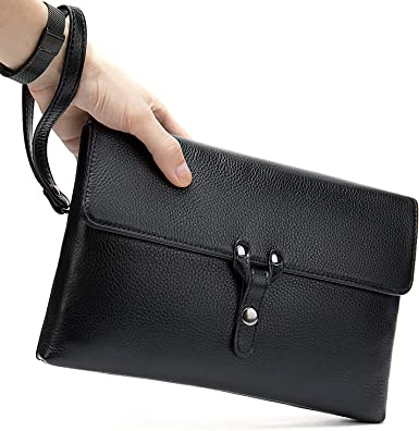 Men Leather Handbag Zipper Pocket Business Purse Daily Tote Shopping Clutch