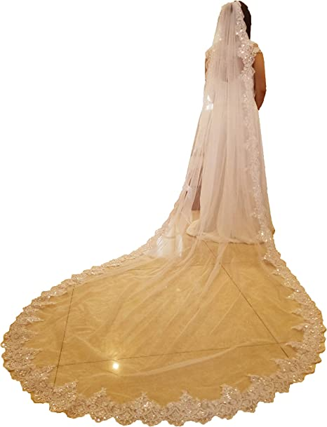 Cathedral Wedding Veil with Embroidery-White Bridal Veil-Ivory Veil-Ivory Veil-White Wedding Veil with comb Cathedral Ivory Wedding Veil