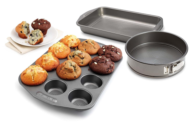 Circulon Bakeware 3 Piece Set - Rectangular Cake Tin, 12 Cup Muffin Tin & 9 Springform Meyer 57354