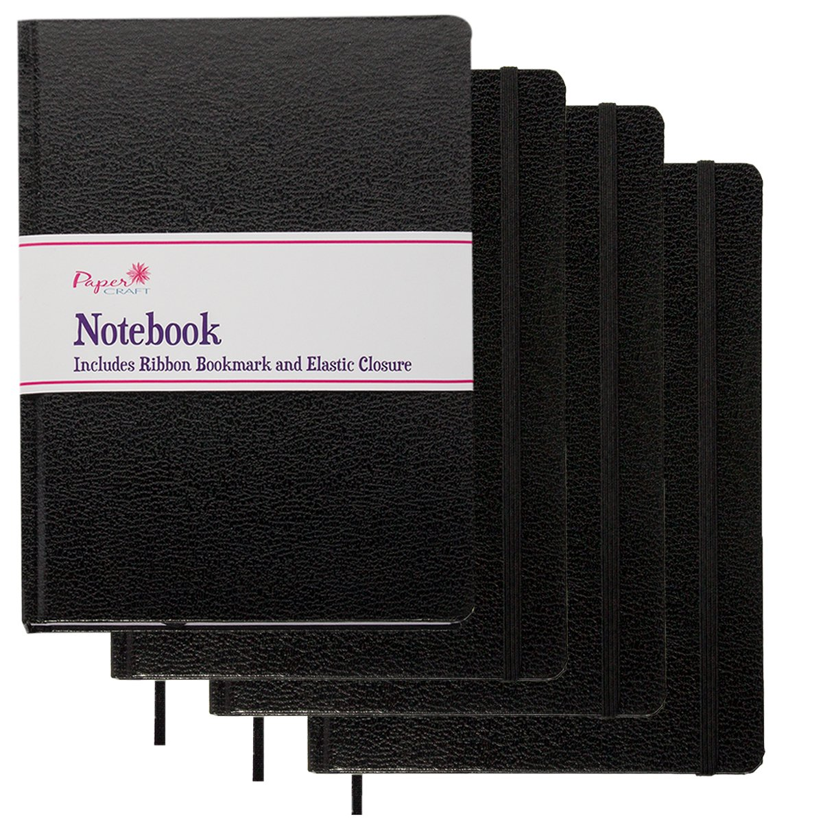 Paper Craft (4 Pack) 8.5 x 5.5 Leatherette Lined Writing Journals Wide Ruled Banded Notebook with Ribbon Bookmark, Black, (a5 Size)
