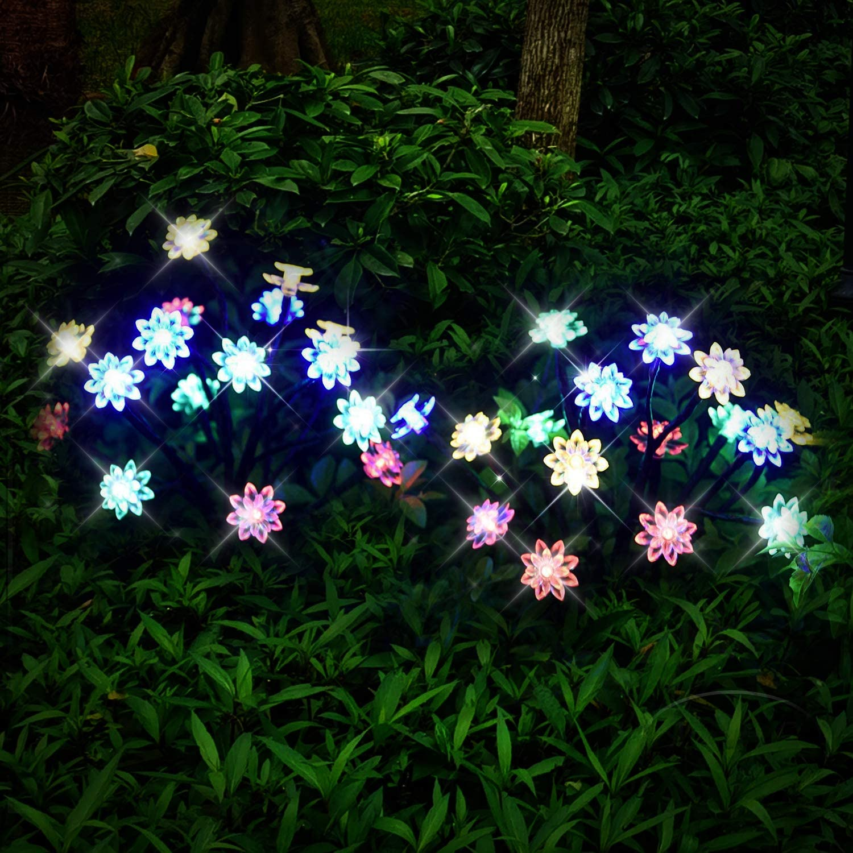 GardenSolarLightsOutdoorDecorative - Christmas Thanksgiving 2Pack Solar Powered Flower Lights LED Solar Landscape Decorative Lights for Garden, Patio, Backyard Solar Flower Lights