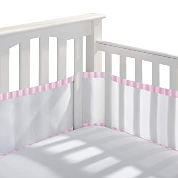 BreathableBaby Classic Breathable Mesh Crib Liner White and Pink Seersucker Trim
