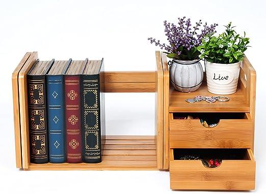 Schreibtisch Organizer Bambus Tischorganizer Bücherregal 2 Schubladen Büroablage