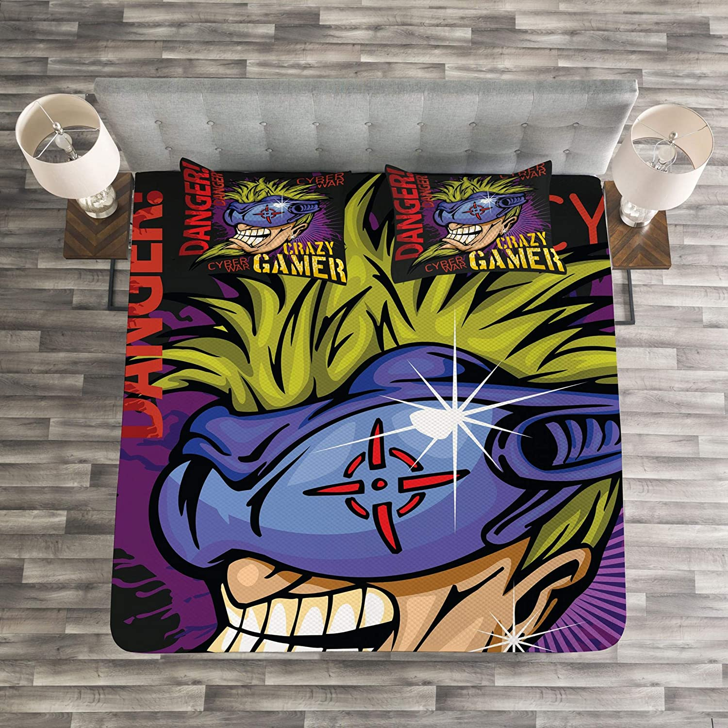 Crazy Gamer Quote with Futuristic Controller with Purple Paint Splashes Background Decorative Quilted 3 Piece Coverlet Set with 2 Pillow Shams Lunarable Gamer Bedspread Set Queen Size Multicolor