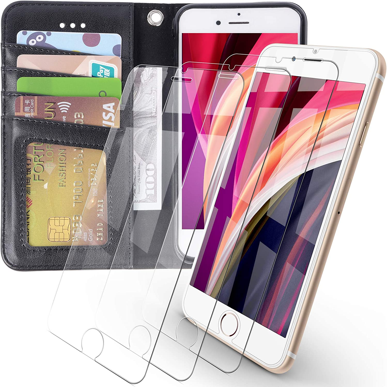 Arae iPhone 7 / iPhone 8 / iPhone SE 2020 Premium PU Leather Flip Cover Wallet Case (Black) with 3 Pack Ultra-Thin HD Tempered Glass Screen Protectors, 4.7 inch