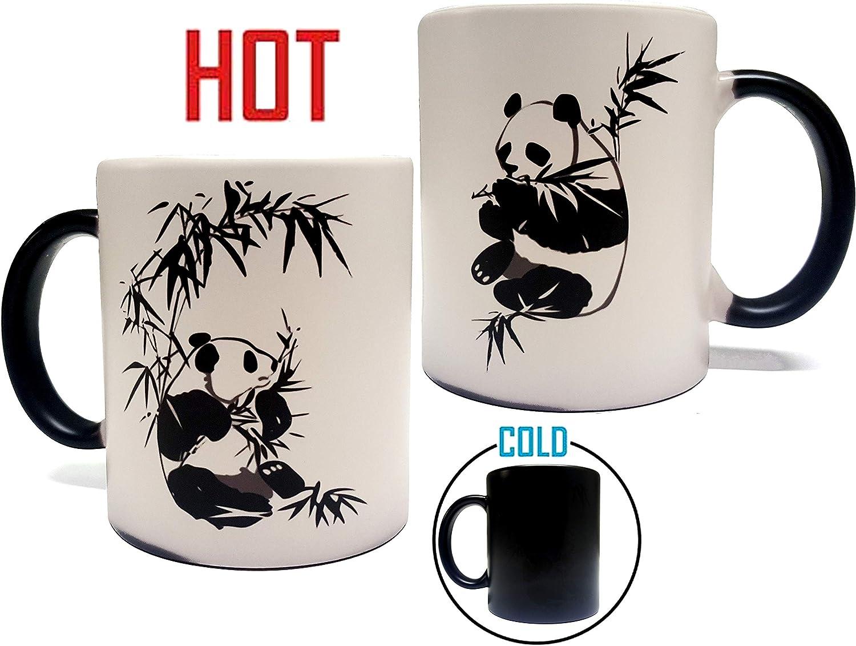 Color Changing Heat Sensitive Panda Mug - Artwork on Both Sides- 11oz Grade A Quality Ceramic Mug/Cup - Foam Box Included - Perfect Gift