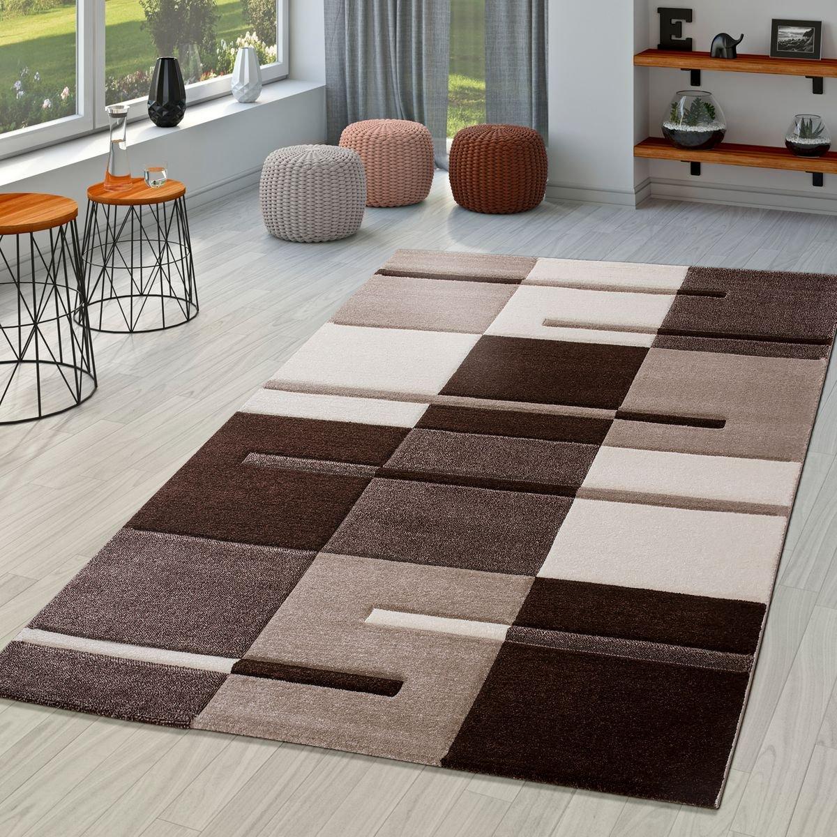 T&T Design Moderner Wohnzimmer Teppich Braun Beige Creme Karo Muster mit Konturenschnitt, Größe:120x170 cm