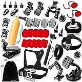 Zookki Accessories Bundle Kit for GoPro Hero 5 4 3+ 3 2 1 Black Silver and SJ4000 SJ5000 SJ6000, Sports Camera Accessory Set for Xiaomi Yi/Lightdow/WiMiUS/DBPOWER
