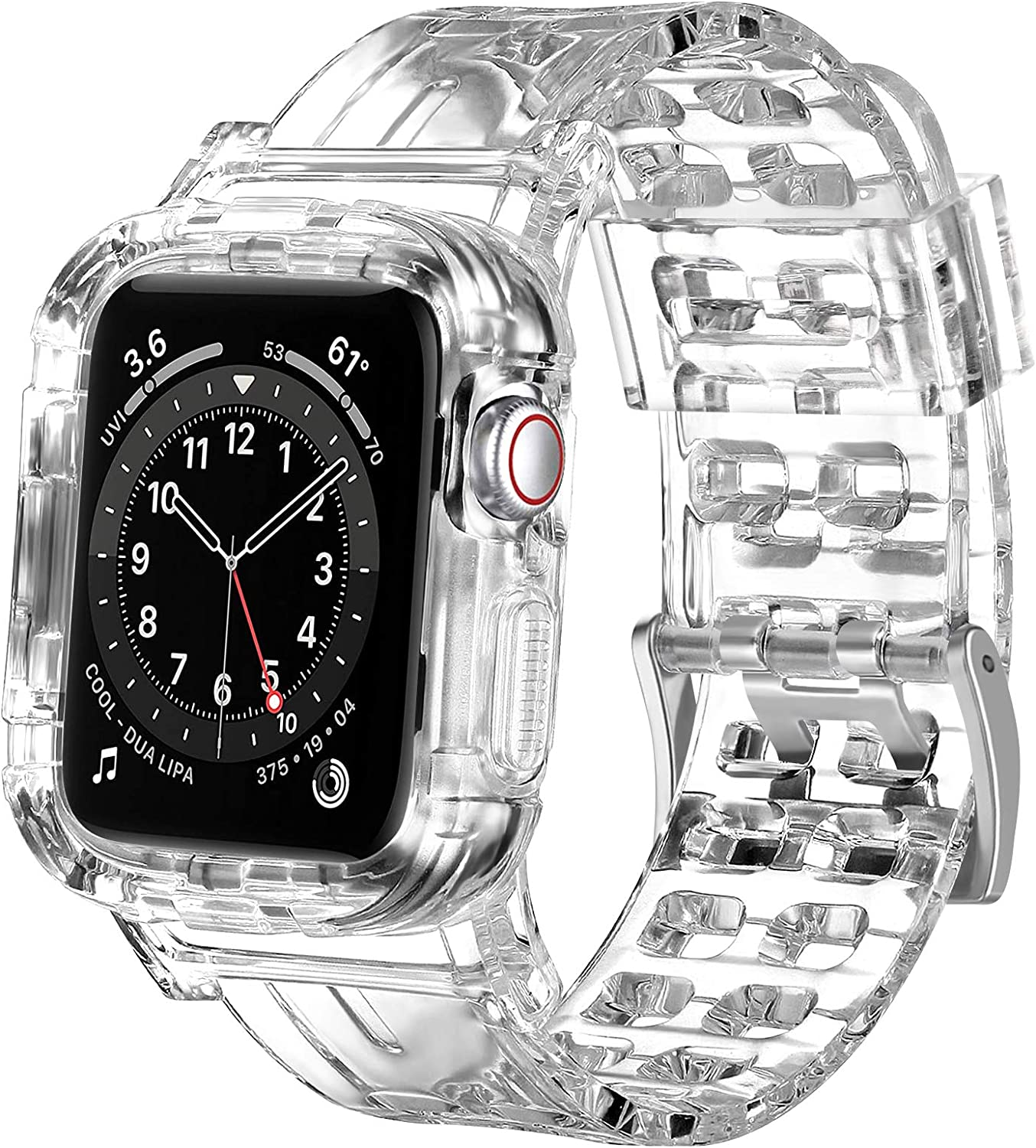 Vanjua Bands Compatible for Apple Watch Bands 38mm 40mm 42mm 44mm, Silicone Band with Case All-around Protective Shockproof Band for iWatch SE Series 6 5 4 3 2 (38mm/40mm, Transparent)