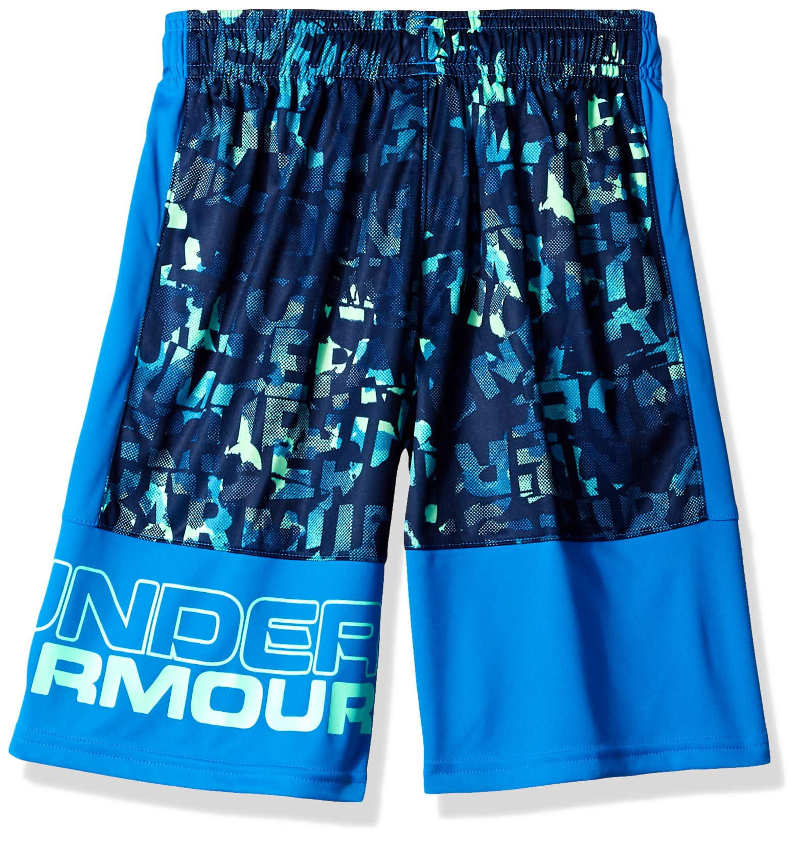 Under Armour Boys' Instinct Printed Shorts,  Academy (408)/Green Typhoon  Youth X-Small by Under Armour (Image #2)