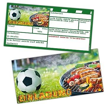 Fussball Grill Party Einladungskarten Set Xl 24 Stuck Zur Fussball Party Oder Kindergeburtstag Fur Jungen Madchen Und Erwachsene Von Breitenwerk