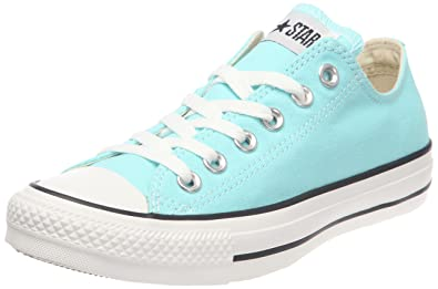 converse shoes all white. converse unisex chuck taylor all star low top aruba blue sneakers - 7 b(m shoes white
