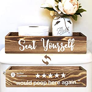 Would Poop Here Again & Seat Yourself Bathroom Decor Storage Box, Toilet Paper Holder Stand, Farmhouse Rustic Wood Organizer