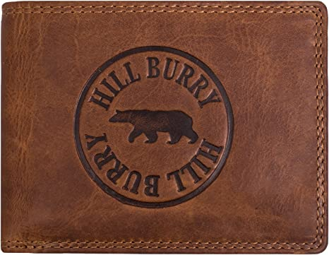 Hill Burry RFID Portefeuille Cuir V/éritable Homme Porte-Monnaie en Cuir v/éritable de premi/ère qualit/é Porte-Monnaie en Cuir de qualit/é pour Homme avec Un Look Vintage Portrait Marron