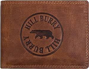 Hill Burry Cartera de Cuero para Hombre   Billetera - Monedero de Cuero Genuino con un Aspecto Vintage   Hombres - Mujeres Bolsillo Horizontal   RFID (marrón)