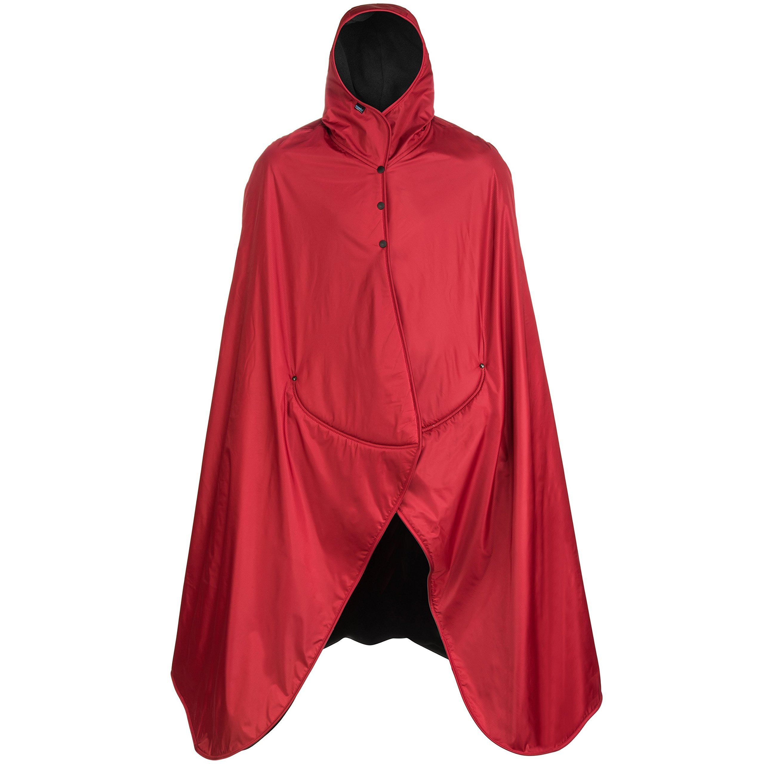 Mambe Extreme Weather 100% Waterproof/Windproof Hooded Blanket with Premium Stuff Sack (Size: XL, Red-Black) Made in The USA by Mambe