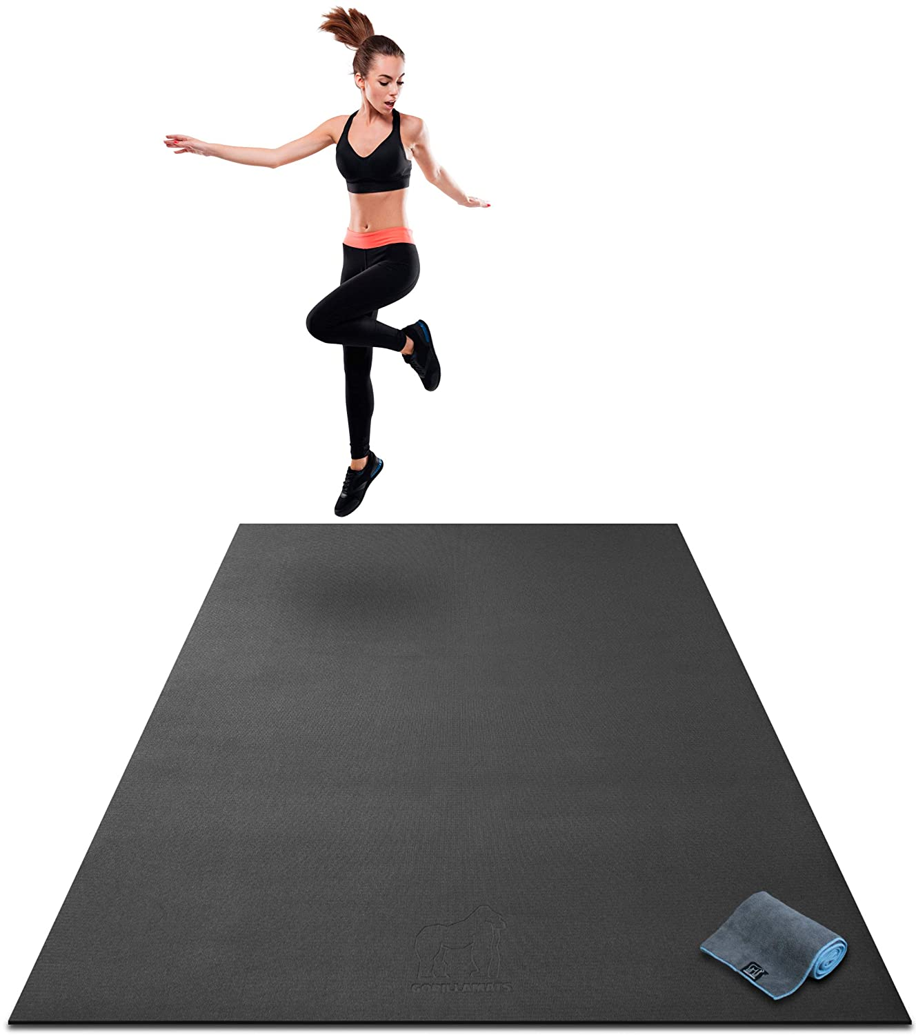 "Premium Extra Large Exercise Mat - 7' x 5' x 1/4"" Ultra Durable, Non-Slip, Workout Mats for Home Gym Flooring - Jump, Cardio, MMA Mat - Use with or Without Shoes (84"" Long x 60"" Wide x 6mm Thick)"
