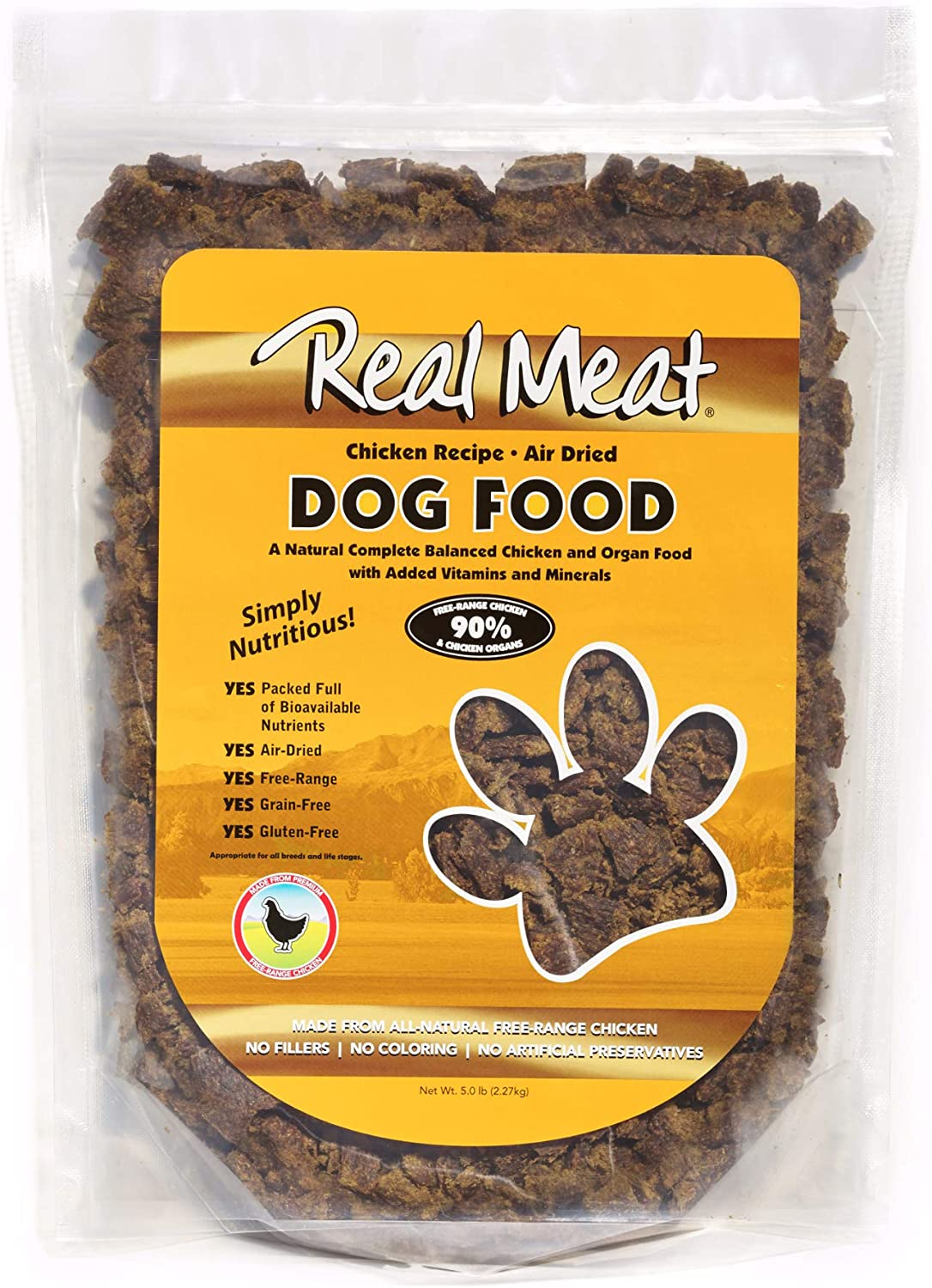 Real Meat 5lb Air-Dried Dog Food, Chicken, 5 lb