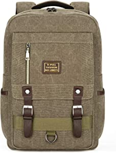 Canvas Laptop Backpack, Vintage Canvas Rucksack, Anti-Theft Backpack Fits 15.6 Inch Laptop (Khaki)