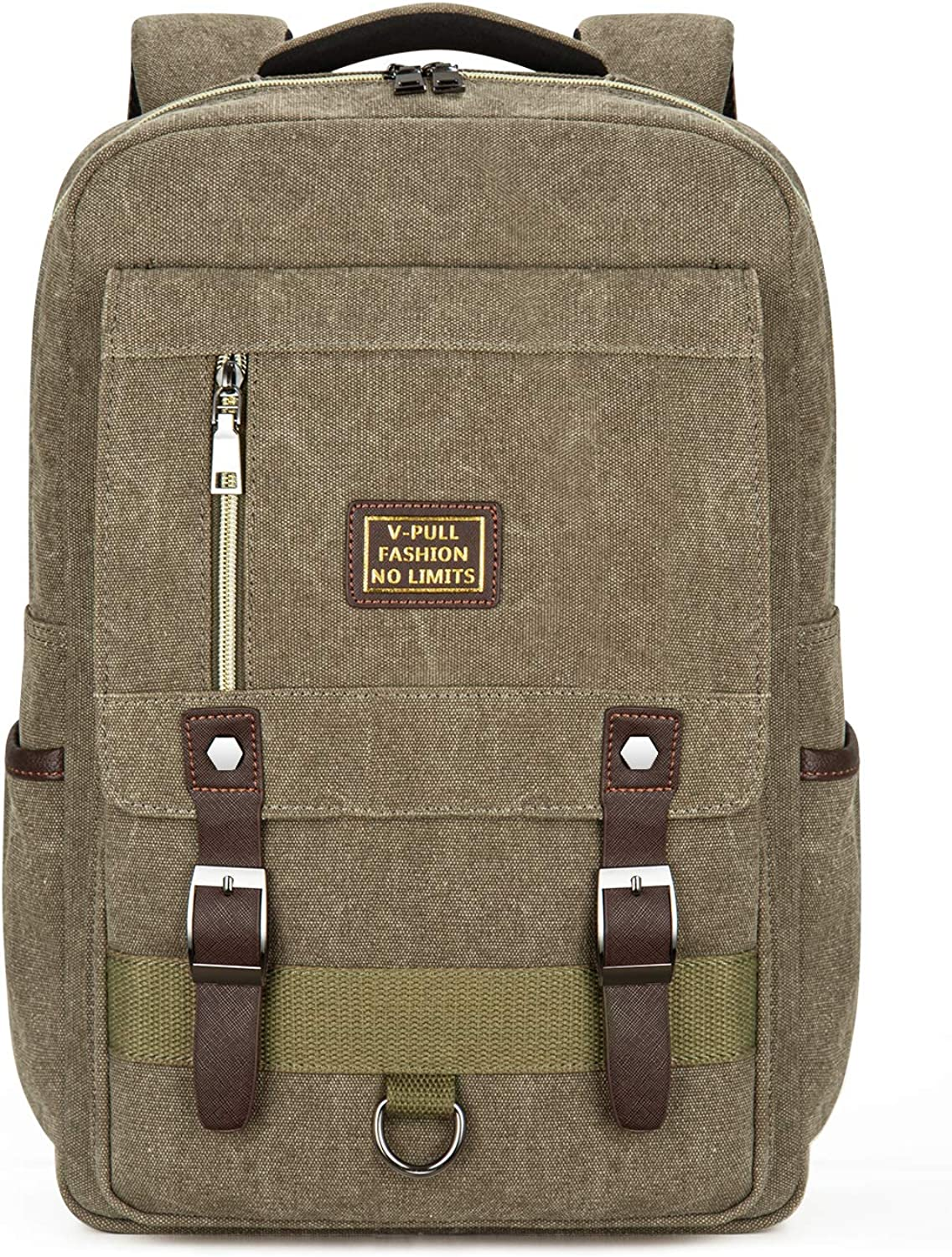 Canvas Laptop Backpack, Vintage Canvas Rucksack, Anti-Theft Backpack Fits 15.6 Inch Laptop