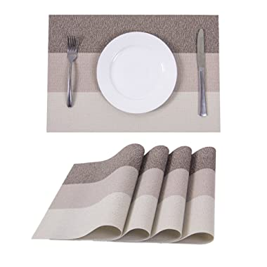 Set of 4 Placemats,Heat-resistant Placemats Stain Resistant Washable PVC Table Mats(Mocha)