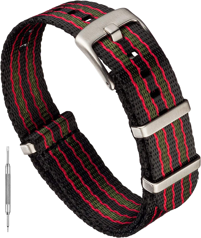 Benchmark Basics Seatbelt Nylon Watch Band - Premium Waterproof Ballistic Nylon One-Piece Watch Bands for Men & Women - Choice of Color & Width - 18mm, 20mm or 22mm
