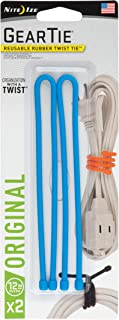 """product image for Nite Ize GT12-2PK-38 Original Gear Rubber Twist Tie, 12"""" - 2-Pack, Bright Blue"""