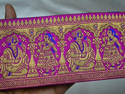 3 Yards Indian Sewing Lace Sari Border Brocade Jacquard Ribbon Trim Decorative