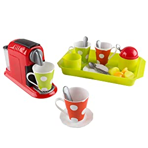 Hey!Play! Coffee Maker Toy Set- Pretend Kitchen Appliance for Play Espresso or Cappuccino Coffee Shop, Single Serve Brewer for Boys and Girls