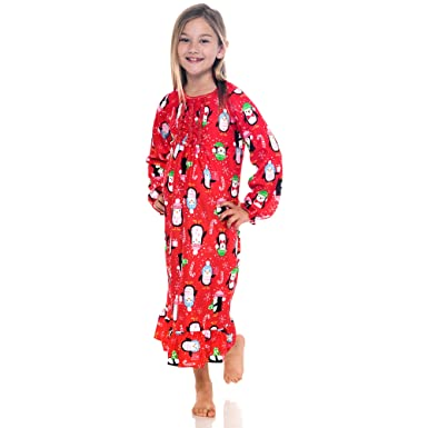 pj u0026 me girls flannel nightgown pajamas 78 red penguins - Flannel Nightgowns