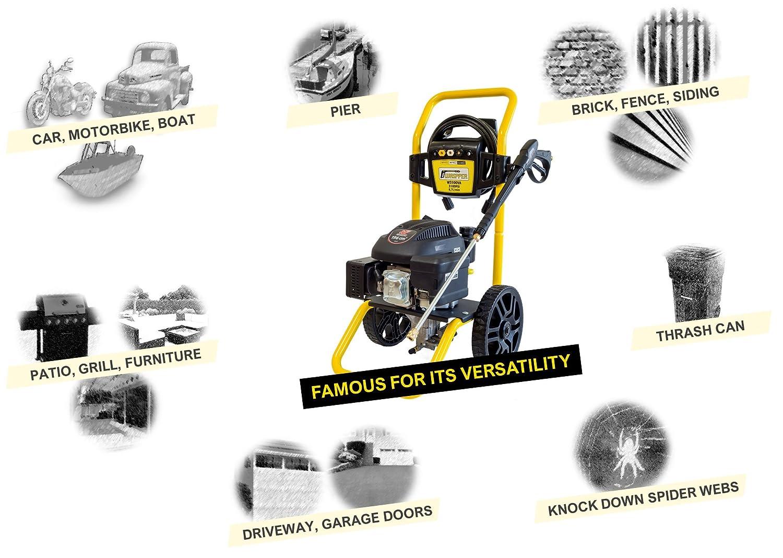 WASPPER ✦ Hidrolimpiadora de Motor de Gasolina 3100 PSI ✦ 196cc con Potencia de Alta presión Jet Hidrolimpiadora Profesional W3100VA portátil Limpiadora ...