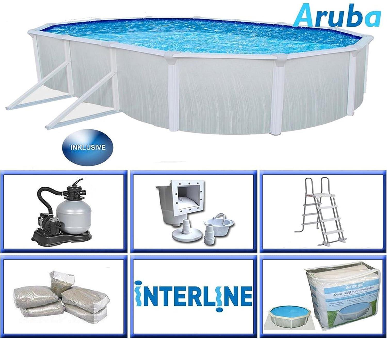 Interline 53130035 Aruba Oval Schwimmbad inkl. Zubehör, Mehrfarbig ...