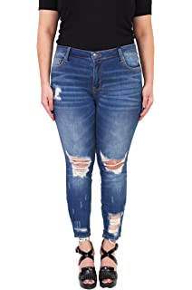 590c7914b2d Cello Jeans Women Plus Size Middle Rise Distressed Cropped Skinny Jeans