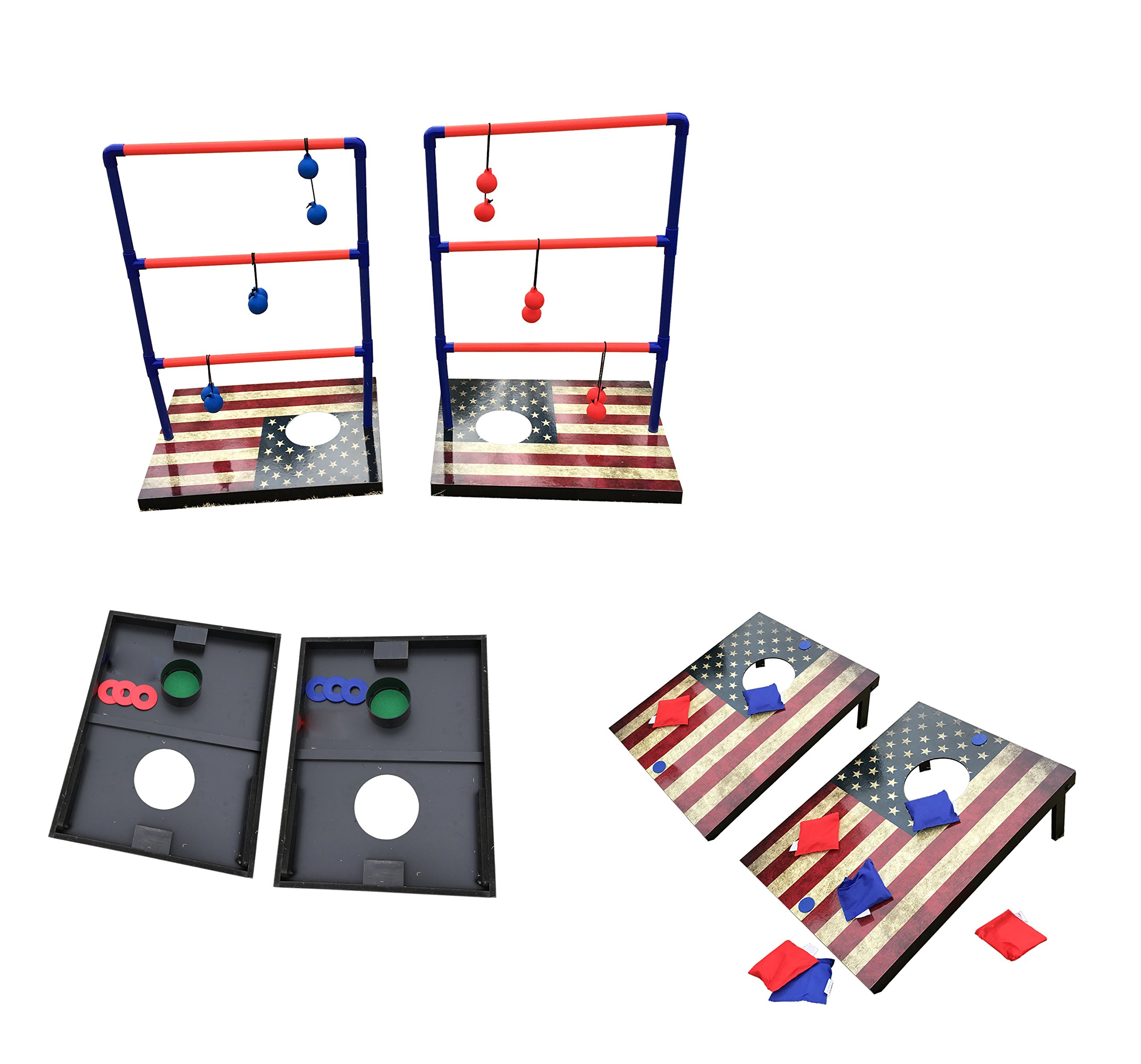 SPORT BEATS 3 in 1 Combo Toss Games,Ladder Ball Toss,Corn Hole Boards Bean Bag Toss Game, Washers Toss Game,Yard Outdoor Family Game-Backyard Fun Camping Games