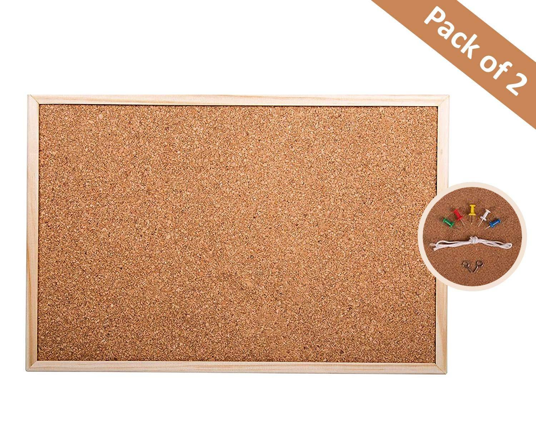 Y/öL 2x cork notice board pinboard wooden frame office work school home 60x40cm