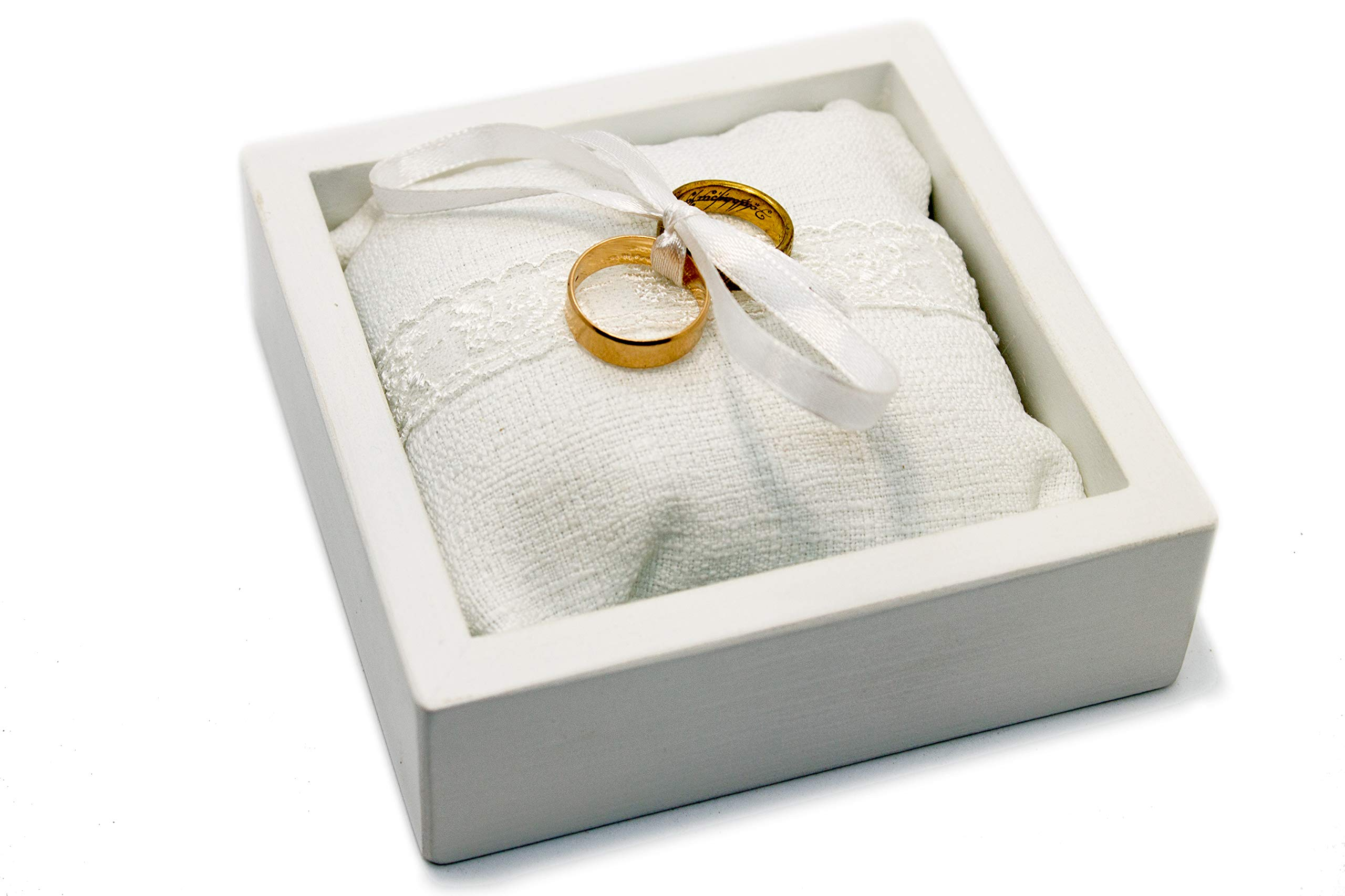 Ring Bearer White Box with Pillow - Custom Ring Holder Box Case - Wooden Marriage Ring Box for Wedding Ceremonyolder Box Case - Wooden Marriage Ring Box for Wedding Ceremony
