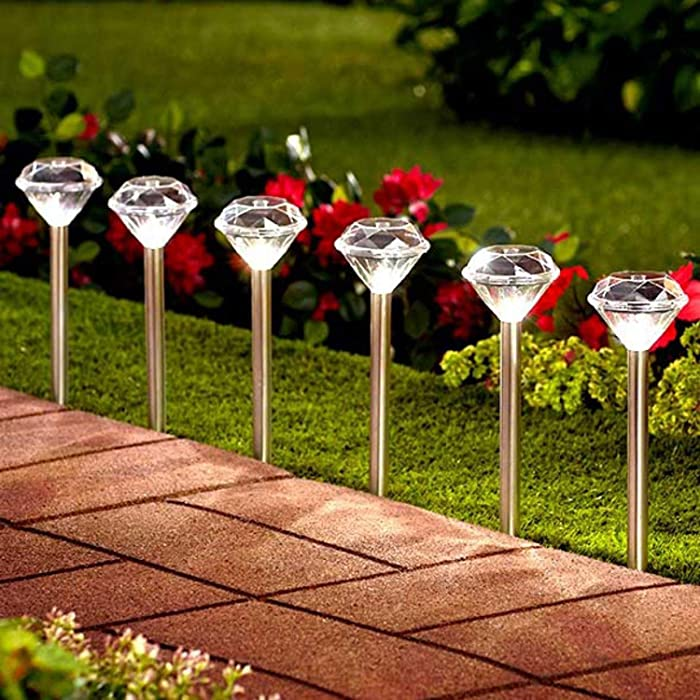 TEALP Solar Stake Lights Outdoor; Perfect for Pathway, Patio, Lawn, Yard, Garden, Flower Pot, Sidewalk, Stainless Steel, Waterproof (Cold White, 8 Pack)