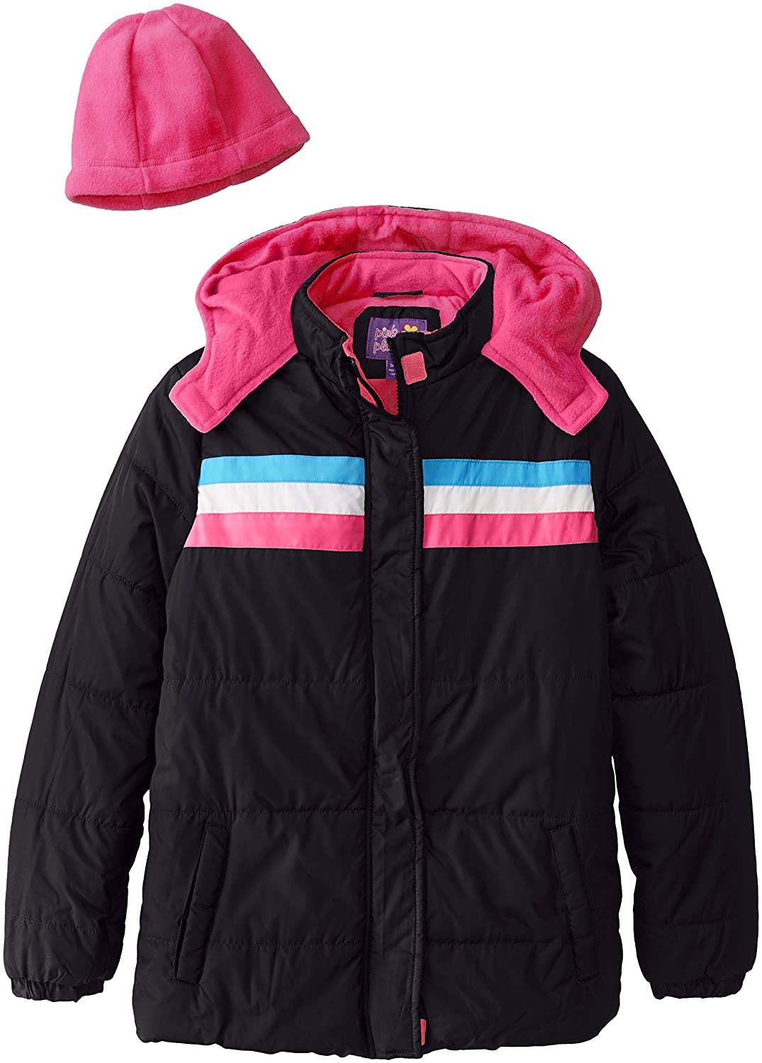 Pink Platinum Big Girls' Athletic Puffer Coat with Hat and Scarf Black 10/12 42