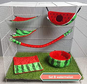 6 pieces/Set Cage Nest Set for Sugar Glider, Hamster, Squirrel, Marmoset, Chinchillas, Small Exotic Pet Cage Set B Watermelon Pattern Green Red Color
