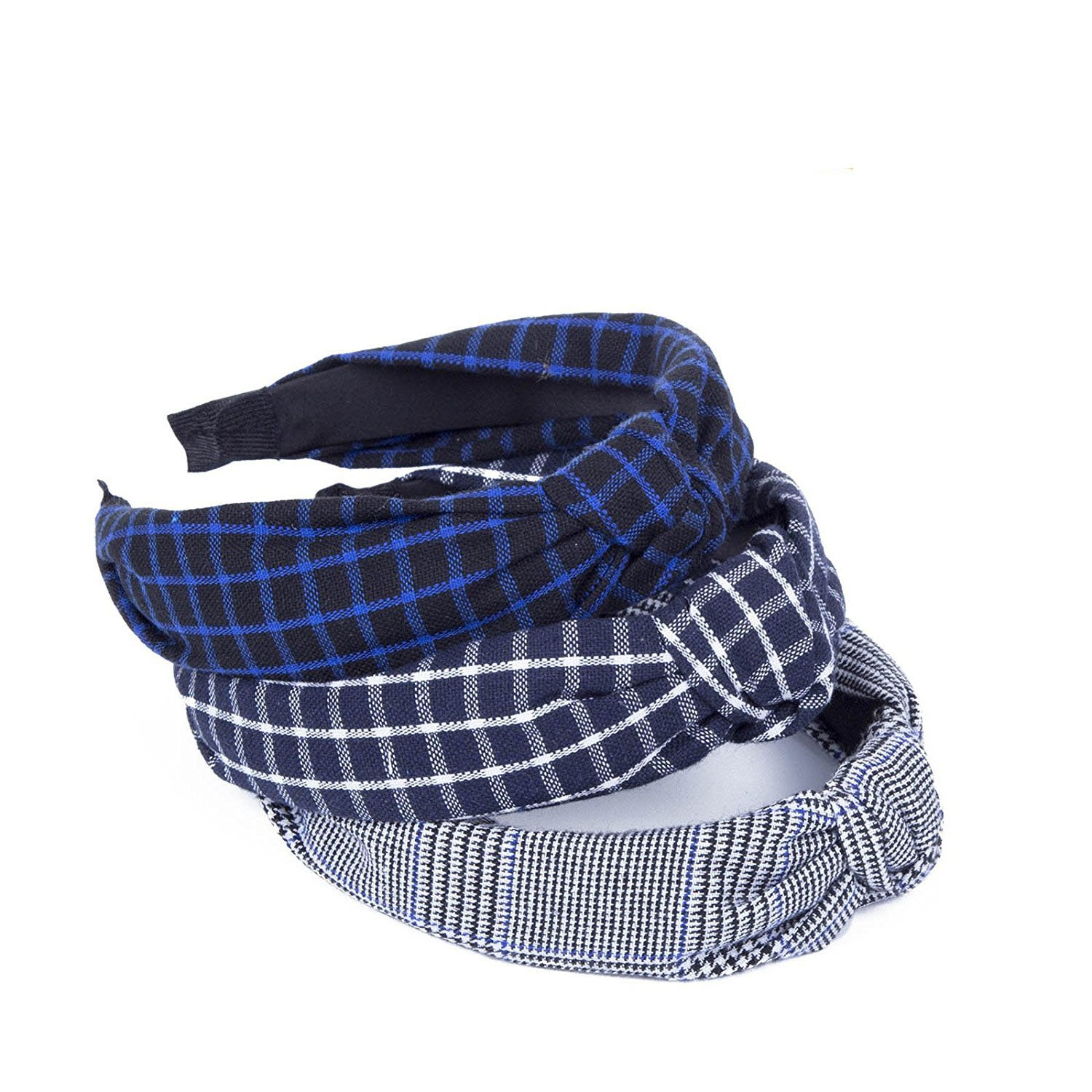 Turban Knotted Bow Elastic Headband - 3Pcs Women Hair Clip Plaid Hairwrap AWAYTR