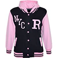 Kids Girls Boys R Fashion NYC Baseball Hooded Jacket Varsity Hoodie 5-13 Years